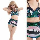 New Fashion Sexy Women Night Club Hot Pants Sequin Stage Custome Suit Eyes&Mouth