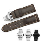 24mm Genuine Assolutamente  Leather Watch Band Deployant Clasp Strap For Panerai