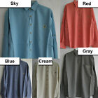 New Casual Rayon blends Pocket Shirts Long Sleeve Roll Up Button Embroidered