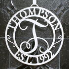 hangers with names - Metal Door or Wall Initial with Name and EST. Date - Monogram - Optional Hanger