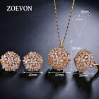 Fashion Women Flower Crystal Gold Plated Necklace Stud Earrings Ring Jewelry Set