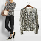 New off white black grey leopard animal print cardigan size 8-20