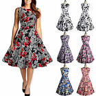Ladys Vintage 1950s Rockabilly Sleeveless Prom Party Floral Pinup Swing Dress