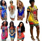 New Women Traditional African Print Dashiki Dress Short Sleeve Party Shirt Dress