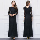 Elegant Long Sleeve Black Lace V back Long Formal Evening Party Gown Dresses 16