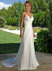 ELEGANT SILK CHIFFON FLOWING SLIM BRIDAL GOWN WITH LACE UP BACK