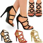 New Womens Ladies Ankle Strap High Heel Cage Cut Out Party Sexy Sandals Size