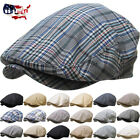 Men's Cabbie Newsboy & Ascot Ivy Hat Cap Plaid Solid Gatsby Golf NEW