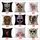 Retro India Skull Cotton Linen Pillow Case Throw Decor Sofa Waist Cushion Cover