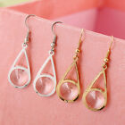 New Arrival Fashion Gold Plated Shiny Crystal Gem Dangle Earrings Ear Hook