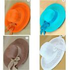 Wide Brim Foldable Straw Floppy Summer Beach Derby  Hat With Ribbon and Bow
