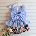 Kids Summer clothes Baby Girls Pants Dress 2pc Floral Casual Flower Party 4 5 6