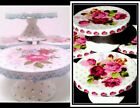 GRACE'S TEAWARE CHINA VICTORIAN FLOWER SET OF 4 CUPCAKE MINI CAKE DESSERT STANDS
