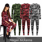 Womens Celebrity Inspired Army Camouflage Print Ladies Loungewear Tracksuit Set