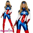 Ladies The Avengers Captain America Fancy Dress Womens Superhero Costume