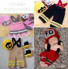 Внешний вид - FIREMAN FIGHTER Handmade Newborn Baby Girl Boy Crochet Knit Cap Photo Prop USA