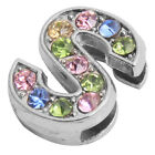 10pcs Hot Sale Plated Rhodium Colorful Rhinestone Letter Beads Findings Charms L