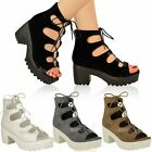 Womens Ladies Chunky Mid Heel Platform Lace Up Cut Out Caged Sandals Boots Size