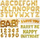 """Gold Numbers Letters Balloons For Party Celebration Birthday Decoration 40"""" 16"""""""