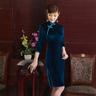 Внешний вид -  Velvet Chinese Cheongsam Chegong-sam Qipao Dress Blue color-Fast Ship from USA
