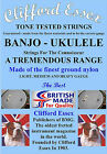 UKULELE-BANJO STRINGS. A COMPREHENSIVE RANGE. MEDIUM - LOW G - MADE IN BRITAIN.