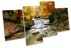 Waterfall Forest River Landscape MULTI CANVAS WALL ART Boxed Framed