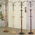 "Wood & Chrome Metal Coat Rack with multiple hooks- 74"" - Four colors to choose"