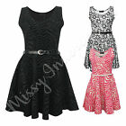 Womens Sleeveless Flower Zebra Printed Ladies Skater Party Dress With Belt 8-14