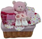 Baby Girl Hamper & Card Choice Baby Gift Basket Nappy Cake Pink Baby Shower New