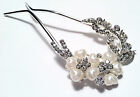 Bridal Hair Comb Stick  in Gold Tone Adorned with Imitation Pearl and Rhinestone