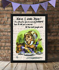 VINTAGE PICTURE PRINT or Greetings Card, Alice in Wonderland, Have I Gone Mad!