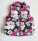 NWT Gymboree Girls Quilted Puffer Vest Pink and Black Floral Print Sizes XS M
