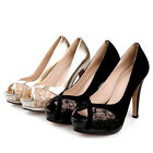 Real Leather Laces High Heel Formal Lady Shoes Pumps Women Sandals UK Size s870