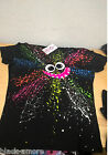 Splat Face Top Emo Punk Glow in the Dark Hand Printed by Couch UK Size Large
