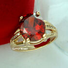 18K GOLD GF HUGE ANTIQUE RUBY DIAMONDS  WEDDING WOMENS SOLID RINGS SZ Q-U R261