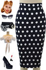 50s Style Dark NAVY POLKA DOT Print High Waist Bombshell Wiggle PENCIL Skirt