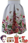 50s Style BOTANICAL BUTTERFLY Print PINUP High Waisted FULL Skirt w/Pleats VLV