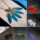 Womens Vintage Bronze Plated Feather Leaf Tassel Pendant Long Bib Necklace Chain