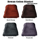 4 Color Choice - Rowan 100% Cotton Blanket Choice of Single or Queen