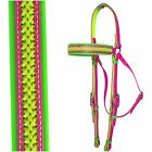 Barcoo/Stockmans Bridle - Mac Tack - PVC Horse Pink and Green