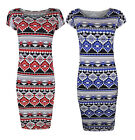 Womens Ladies Summer Cap Sleeve Red And Blue Aztec Print Midi Dress 8-14