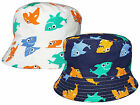 Kids Sharks Design Bush Hat Boys Girls 100% Cotton Summer Sun Bucket Cap New