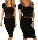 Sexy Dress Bodycon Crepe Co ord Set Pencil Tube High Waist Midi Skirt Crop Top