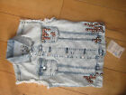 EVISU STUDDED VEST DENIM WAISTCOAT JACKET BLEACH WASH S NEW WITH TAGS