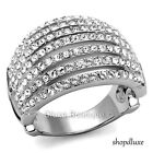 Women's Round Cut AAA CZ Stainless Steel Wide Band Dome Fashion Ring Size 5-10