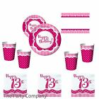 Girls 13th Thirteenth Birthday Party Tableware Plates Cups Napkins