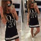 Womens Sports Casual Zippered Fitted LOVE Print Mini Dress Long Top Blouse B