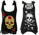 GOTH TOP BLACKS SUGAR SKULL CROSSBONES VEST ROSE SHEER BACK EMO ROCK PUNK NEW