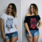 Womens Loose Short Sleeve Casual Tops T-Shirt off shoulder Owl Printing Blouse