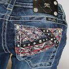 Miss Me Take Sides Paisley Boot Cut Lowrise Stretch Jeans JP8486B NEW!